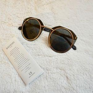 Balmain 61 mm Metal Frame Sunglasses